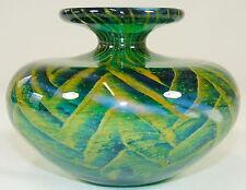 MDINA GLASS - mundgeblasene VASE Ziervase - Grün Gelb - 1987 - MALTA - signiert