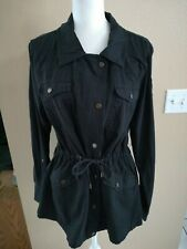 Madden Black Drawstring Jacket Military Embellished Sleeve Size Large
