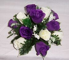 wedding flowers guest table decoration cadbury purple & ivory roses & gyp