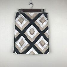 White House Black Market Pencil Skirt Size 4 Geo Print Lined Career