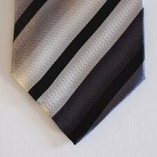 NEW Newgen Cole Silk Neck Tie Gradient Metallic Silver with Black Stripes 1662