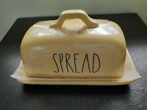 """RAE DUNN ARTISAN COLLECTION BY MAGENTA """"SPREAD"""" BUTTER DISH, YELLOW, NEW"""