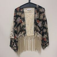 MISS ME floral sheer fringe lace boho jacket Women's small