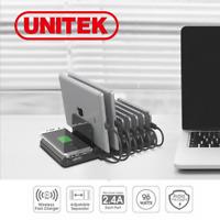Charge Station 8-Port Unitek Wireless QI Charging Dock Hub iPhone Tablet 96W