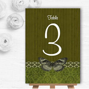 Rustic Vintage Wood Butterfly Olive Green Wedding Table Number Name Cards