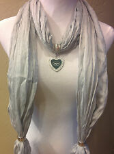 New York Jets Licensed Pendant, on a  pale gray  shimmer team color scarf !!