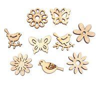 100 Holz Streuteile Blätter Streudeko für Basteln DIY Blumen Tier Mix Motive H81