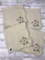 "Vintage Linen Napkins Set of 4 Natural Linen With Neutral Embroidered Floral 16"""