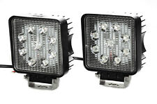 """Pair of 4"""" Square LED Fog / Spotlights 27w Offroad, Boat, Tow Truck Work Light"""