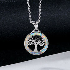 925 Silver Tree of Life White Fire Opal Gemstone Gem Jewelry Necklace Pendant