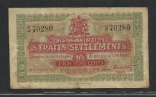 STRAITS SETTLEMENTS 10 CENT 1919