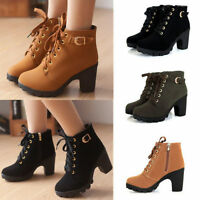 Ladies High Ankle Boots Chunky Block Heel Buckle Warm Women Lace Up Shoes NEW