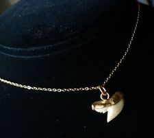 Vintage Necklace Gold Plated Shark's Tooth Pendant 1970's Shell Shop Souvenier