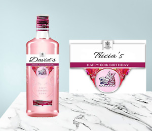 Personalised Pink Gin Label Gordons Birthday Celebration Housewarming Gift Party