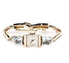 Vintage Aquamarine & 14k Rose Gold Mesh Bracelet Women's Watch