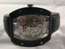 ARMATA SPORT AUTOMATIC SKELETON WATCH BLACK CASE / LEATHER BAND / SILVER DIAL