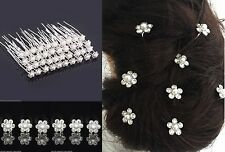 10pcs Wedding Bridal Pearl Flower Crystal Hair Pins for Bridesmaid/Bride UK SELL