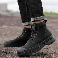 US5-12 Mens Leather Lace up Round toe High top Combat Shoes Knight Ankle Boots