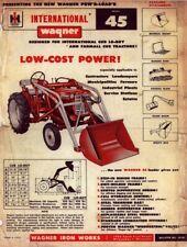 Ih International Wagner Model 45 Loader Tractor Operator Inst Maint Manual Bro