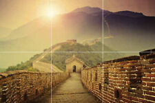 "Great wall of China sunrise mountains ceramic tile mural backsplash 12""X18"