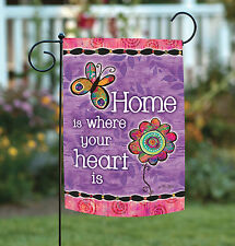 NEW Toland - Home Is Where Your Heart Is - Cute Flower Double Sided Garden Flag