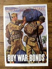 Rare  WWII Carry Your Share Buy War Bonds Poster by Abbott Laboratories
