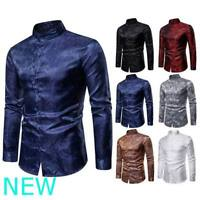 Luxury Top Shirt Floral Casual Stylish Slim Fit Long Sleeve Mens Dress Shirts