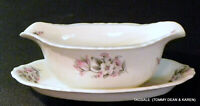 Nice ABERDEEN china MOSS ROSE pattern ~ Gravy Boat with Attached Under Plate