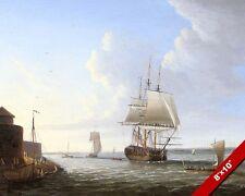 ENGLISH MAN OF WAR BRITISH ROYAL NAVY SHIP AT SEA PAINTING REAL CANVASART PRINT