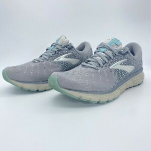 Brooks Womens Glycerin 17 1202831B070 Gray Mint Running Shoes Lace Up Size 11 B