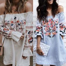 Women Bohemian Floral Print Long Sleeve Off Shoulder Bell Sleeve Beach Dress New