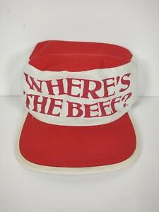 """Vintage 1984 """"Where's The Beef"""" Wendy's Promo Painter Hat White Red M-L"""