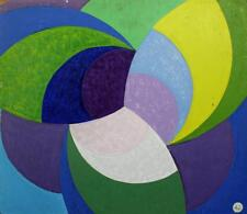 ABSTRACT GEOMETRIC SHAPES STUDY Acrylic Painting On Board  c1960