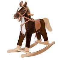 Kids Ride On Pony Toddler Rocking Horse Nursery Plush Toy Wooden Rocker w/ Sound