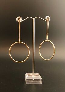 """Gold Toned 3"""" Round Drop Earrings. BRAND NEW."""