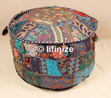 Set Of 2 Indian Vintage Ottoman Patchwork Foot Stool Pouffe Bean bag Cover Case