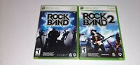 Rock Band 1 & Rock Band 2 Video Game Lot Microsoft Xbox 360 Complete CIB Tested