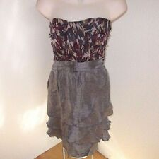 Tini Lili Dress Strapless Gray Wine Silver Metallic Size L  NWOT #L56