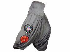 Sarouel Femme Pantalon Ethnique Aladin Harem Pant 100% Coton gris