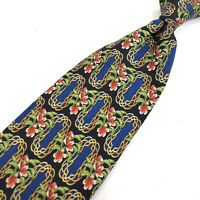 MCM Multicolor Black Yellow Floral Geometric Tie 100% Silk Made in Italy