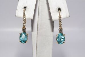 $1,200 1.85CT NATURAL BLUE-GREEN APATITE & DIAMOND LINEAR DROP EARRINGS 14K GOLD