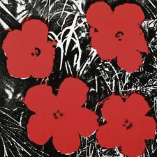 Flowers, c.1964 (4 red) by Andy Warhol Art Print Poster Floral Flower 23.5x23.5