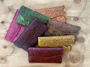 Mexican hand tooled embosed genuine Leather women's long wallet Trifold.