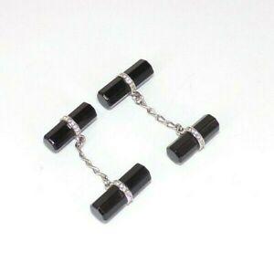 BEAUTIFUL BLACK ONYX CYLINDER SILVER LINK & SWAROVSKI CRYSTAL CUFFLINKS