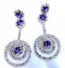 Wholesale Lot Rhinestone Chandelier Earrings Crystal Pageant Purple 2.5 In 4x