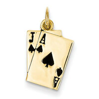 14k Yellow Gold Enameled Blackjack Playing Cards Charm A4952