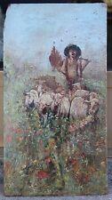 Piccolo dipinto olio su tavola scena pastorale scuola meridionale - fine '800