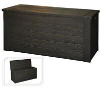 Wood Crate Effect Garden Storage Box With Lid Garden Patio Cushion Storage Box