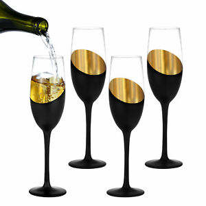 8 oz Stemmed Champagne Flutes Black and Gold Plated Wine Glasses, Set of 4