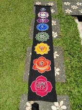 Inspirational Balinese affirmation hand painted hanging banner chakra med Black